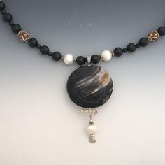 Large Black Agate Bead Necklace on Sterling Silver Wire, has Black Onyx Beads, Carved Bone and Pearls. Handmade One of a Kind Artisan Jewelry Made in the USA with Free Domestic Shipping! Necklace Lengths, Beaded Necklace, Beaded Bracelets, Onyx Necklace, Black Agate, Black Onyx, Agate Beads, Gemstone Beads, Etsy Jewelry