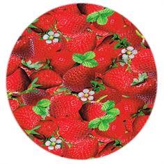 JerseyStof med Jordbær i digital tryk. Strækstof. Køb nu