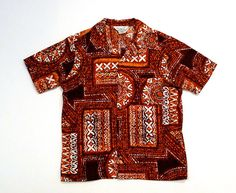 Barkcloth Hawaiian Shirt 70s Vintage Brown Tribal Print Tiki