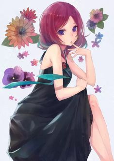 Anime picture 1240x1754 with love live! school idol project sunrise (studio) nishikino maki kobutakurassyu single tall image short hair looking at viewer purple eyes bare shoulders sitting pink hair sleeveless crossed legs finger to mouth floral background girl dress black dress