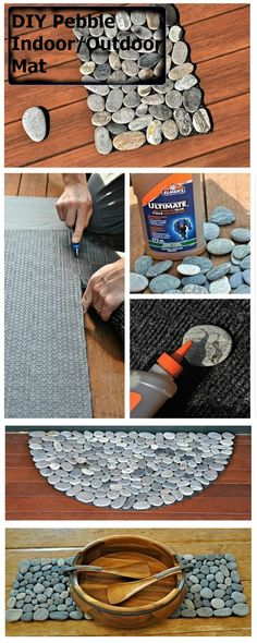 DIY Pebble Indoor/Outdoor Mat - good for an outdoor table or something like that Home Crafts, Fun Crafts, Diy Home Decor, Diy And Crafts, Diy Projects To Try, Craft Projects, Outdoor Crafts, Indoor Outdoor, Crafty Craft