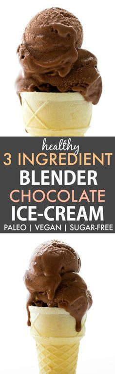 Healthy 3 Ingredient No Churn Blender Chocolate Ice Cream (Paleo, Vegan, Dairy Free)- Creamy banana ice cream 'nice cream' and SUPER simple!
