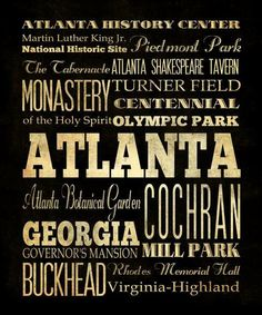 Atlanta Georgia Typography Art  Canvas / Bus  / by LegacyHouseArt, $164.95