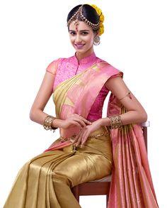 Pink and gold silk saree South Indian Sarees, Indian Silk Sarees, South Indian Bride, Indian Bridal, Indian Attire, Indian Wear, Indian Dresses, Indian Outfits, Indian Clothes