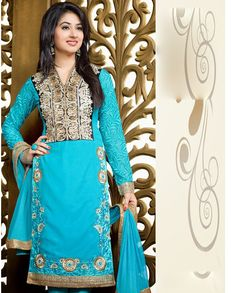 Blue suit with heavy embroidered yoke   1. Blue embroidered bemberg long suit2. Comes with matching bottom and dupatta3. Can be stitched upto size 42 inches