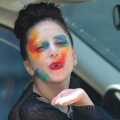 Lady Gaga blows her fans a kiss while heading to lunch in Los Angeles on August 12. Mommy, mommy, make the scary clown woman go away!
