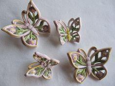 Farfalle in ceramica realizzate a mano