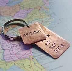 Latitude Longitude Keychain in Copper, Custom Hand Stamped Coordinates, Personalized Initials Heart, Layered, 7 Year Anniversary, Mens Gift. $37.00, via Etsy - LOVE this with the location of our first home. <3