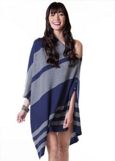 Lexi Poncho in Mariner-Charcoal Stripe