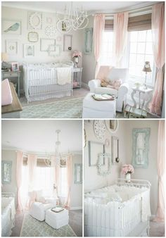 We are madly in love with this vintage chic nursery featuring Bratt Decor& very own distressed white joy crib. This room was spotted on project nursery and designed by mom Ella Arose.