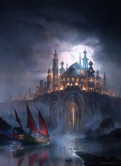 Pirates Great Island City giant ship gates night full moon Fantasy Art Watch