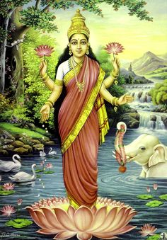 Many plants and trees have been elevated to the realm of the sacred, such as the lotus flower in Hinduism. The Hindu goddess Lakshmi holding & standing on a lotus, Raja Ravi Varma painting. Hindu Kunst, Hindu Art, Raja Ravi Varma, Ravivarma Paintings, Indian Paintings, Religion, Krishna, Indian Traditional Paintings, Bd Art