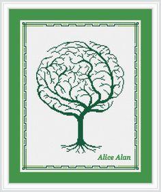 Cross Stitch Pattern Silhouette Tree Brain Tree от HallStitch Cross Tree, Cross Stitch Tree, Cross Stitch Needles, Needlepoint Patterns, Counted Cross Stitch Patterns, Cross Stitch Embroidery, Family Tree Chart, Tree Silhouette, Abstract Pattern