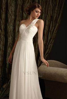 Vestido de novia Sencillo Un sólo hombro Encaje Natural Hasta el suelo