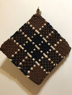 Handmade Large Woven Potholder in Chocolate Navy Plaid
