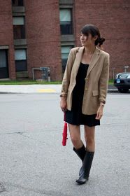 (Forever 21 Dress, Thrifted blazer, dav rain boots, Zara bag, Forever 21 ring, Pocket watch necklace from a store in Harajuku) I got m...