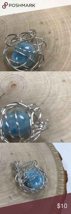 "Pendant Pendant larimar silver 9.25 .5"" Jewelry Necklaces"