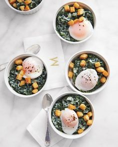 Creamed Spinach with Poached Eggs and Brioche Croutons