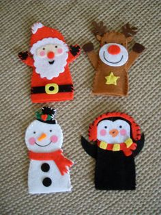 Felt Set of 4 Christmas Finger Puppet Toys. by MakeStitchKnit