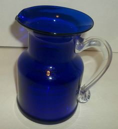 Gorgeous Designs Cobalt Blue With Clear Handle Pitcher Holds 4 Cups