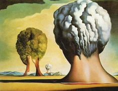 Salvador Dali (1947) The Three Sphinxes of Bikini, oil on canvas, 30 x 50 cm, private collection	 The experimental atomic explosions on the atoll of Bikini, as well as the bombs dropped on Hiroshima and Nagasaki, inspired this Dalí work. Two human heads and a tree become hallucinatory double images of the mushroom cloud produced by a nuclear explosion.