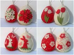 Felt easter decoration - felt egg with bunny and butterflies or flowers/ choice of decoration - set of 2