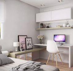 Trendy home office quarto feminino simples Ideas Apartment Interior Design, Home Office Design, Home Office Decor, Home Decor, Office Ideas, Office Table, Interior Ideas, Home Bedroom, Bedroom Decor