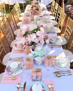 Annabelle's Bridal Shower 💗 High Tea Crockery & Gold Tiffany Chairs @royaltea_hightea | Bomboniere @thelasergroup | Florals…