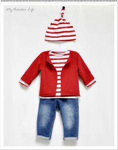 Tee-shirt bébé   bonnet marinière blanc et rouge et gilet molleton rouge