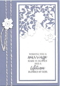 handmade wedding card ... luv how the die cut lacy heart was used for a top element ... lovely .. Stampin' Up!