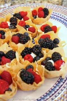 Pink to Green: Skinny Fruit Tarts made with phyllo pastry and Greek yogurt