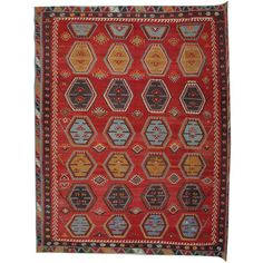 For Sale on - The handmade carpet Şarkışla Kilim rugs are one of the most decorative rugs, Turkish Kilim can be an additional element of design to one's home decor. Rugs On Carpet, Carpets, Geometric Rug, Red Rugs, Turkish Kilim Rugs, Woven Rug, Handmade Rugs, Oriental Rug, Colorful Rugs