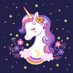 Buy Unicorn on a Purple Background with Stars by svaga on GraphicRiver. Cute unicorn on a purple background with stars and flowers. Vector illustration in cartoon style. Unicorn Painting, Unicorn Drawing, Unicorn Art, Magical Unicorn, Unicorn Images, Unicorn Pictures, Purple Unicorn, Rainbow Unicorn, Unicorn Wallpaper Cute