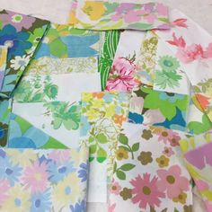 "Fun, Funky, Floral  Lot of Vintage Sheet Scraps  Perfect for stitching, crafting, creating.  Variety of patterns & designs.  Sizes vary-  1.5"" to 3"" wide 4"" to 25"" long"