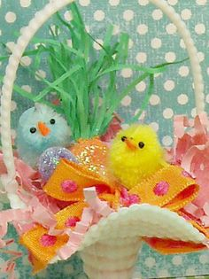 Easter basket with fuzzy chicks Easter by sugarcookiedolls on Etsy