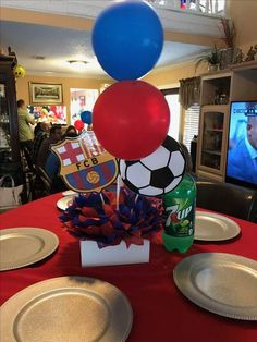 Soccer Birthday Parties, Football Birthday, 20th Birthday, Birthday Party Themes, Barcelona Soccer Party, Fcb Barcelona, Soccer Banquet, Soccer Center, Construction Party