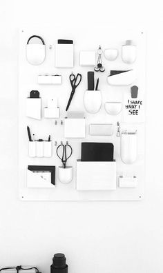 Well known desk organizer by Vitra. I hope to design objects that are functional and timeless. Coin Couture, Office Workspace, Office Decor, Wall Organization, Getting Organized, Interior Inspiration, House Design, Home Deco, Organised Life