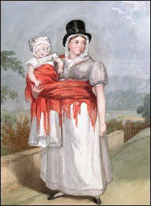 Picture: G.O. Delamotte of Mrs Gwyn, Swansea, c.1820. A woman carrying her baby 'Welsh fashion'.