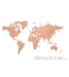 Rose Gold Foil World Map (Matthew 28) by Thousand Word Graphics