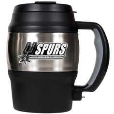 San Antonio Spurs mini travel jug. This 20 oz Spurs jug is made of sanitary stainless steel and features a built-in bottle opener under the handle for convenience. Decorated with a high quality metal