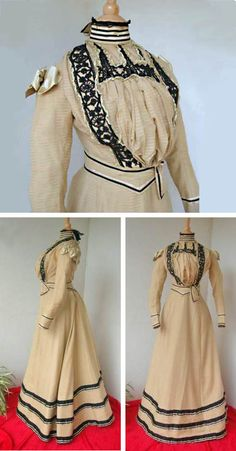 Day dress ca. 1885-90. Three pieces: boned bodice, boned belt, and skirt. Silk and cotton with jet beads. Silk ribbons on shoulders. Le Bon Coin