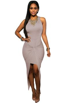 Fancy Grey Knotted Slit Dress LAVELIQ