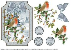 Robin Redbreast On A Winter s Day on Craftsuprint designed by June Harrop - Lovely shaped card front which can be placed onto a card blank as is or can be cut to the shape.Simple to make but very effective. - Now available for download!
