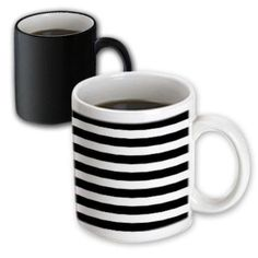 3dRose Stylish Contemporary Stripes - Black and White striped pattern aka breton stripe, Magic Transforming Mug, 11oz