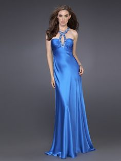Neck Floor Length Sheath Ice Blue Silky Satin Crisscross Back Evening Dress