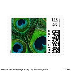 Peacock Feather Postage Stamps - Green Navy Aqua