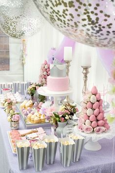Cakescape flanked by confetti balloons from an Elegant Purple Princess Birthday Party at Kara's Party Ideas.