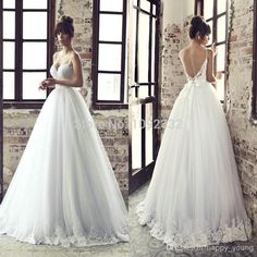2017 New backless white/ivory Bridal tulle&Lace Wedding Dress Bridal Ball gown Wedding Dresses For Sale, Wedding Dress Sleeves, Cheap Wedding Dress, Tulle Wedding, Bridal Wedding Dresses, Ivory Wedding, Backless Wedding, Bridesmaid Dresses, A Line Bridal Gowns