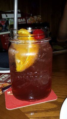 Aussie Rum Punch from Outback... Careful goes down very easily.   Ingredients: Mount Gay Rum, Malibu Coconut Rum, and fresh lime, mango, and cranberry juice.