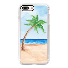 Watercolor Beach & Palm Tree - iPhone 7 Plus Case And Cover (970 CZK) ❤ liked on Polyvore featuring accessories, tech accessories, phone cases, case, cell phones, phone, iphone case, iphone cell phone cases, clear iphone case and apple iphone case
